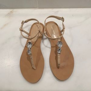 Saks Fifth Avenue patent leather jeweled sandals